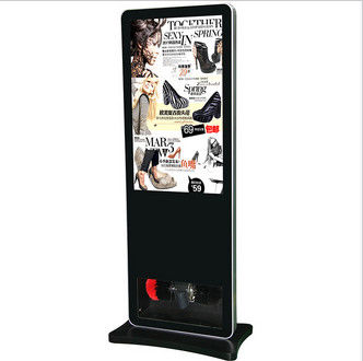 Black Floor Standing LCD Advertising Player , Library Web Based Digital Signage